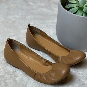 J. Crew Tan Leather Ballet Flat Shoe